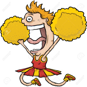 A happy, cartoon cheerleader jumps and cheers and waves pom poms.