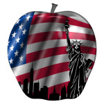 Big Apple with USA Flag and New York Statue of Liberty Illustration