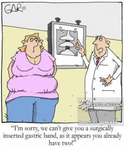 'I'm sorry, we can't give you a surgically inserted gastric band, as it appears you already have two!'