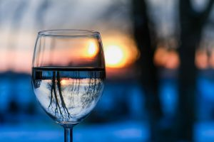water-glass-sunset